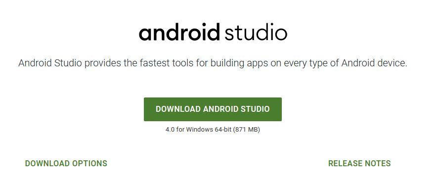 Screenshot der Downloadseite von Android Studio